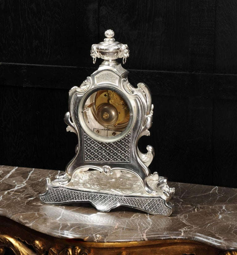Antique French Silver Rococo Clock ~ Music For Sale 6