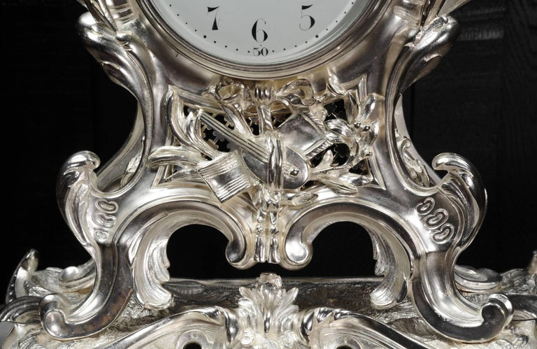 Antique French Silver Rococo Clock ~ Music For Sale 7