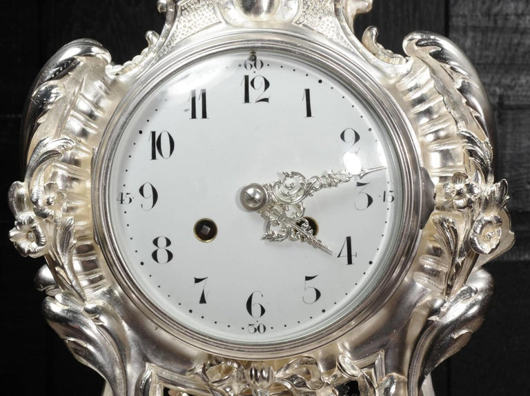 Antique French Silver Rococo Clock ~ Music For Sale 8