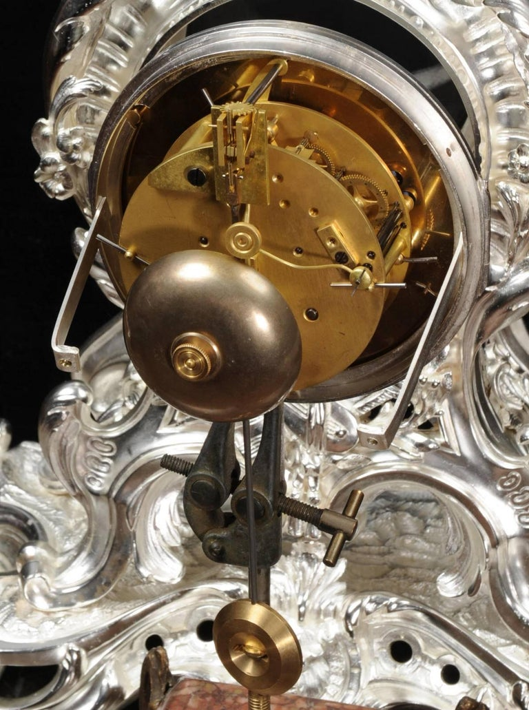 Antique French Silver Rococo Clock ~ Music For Sale 11