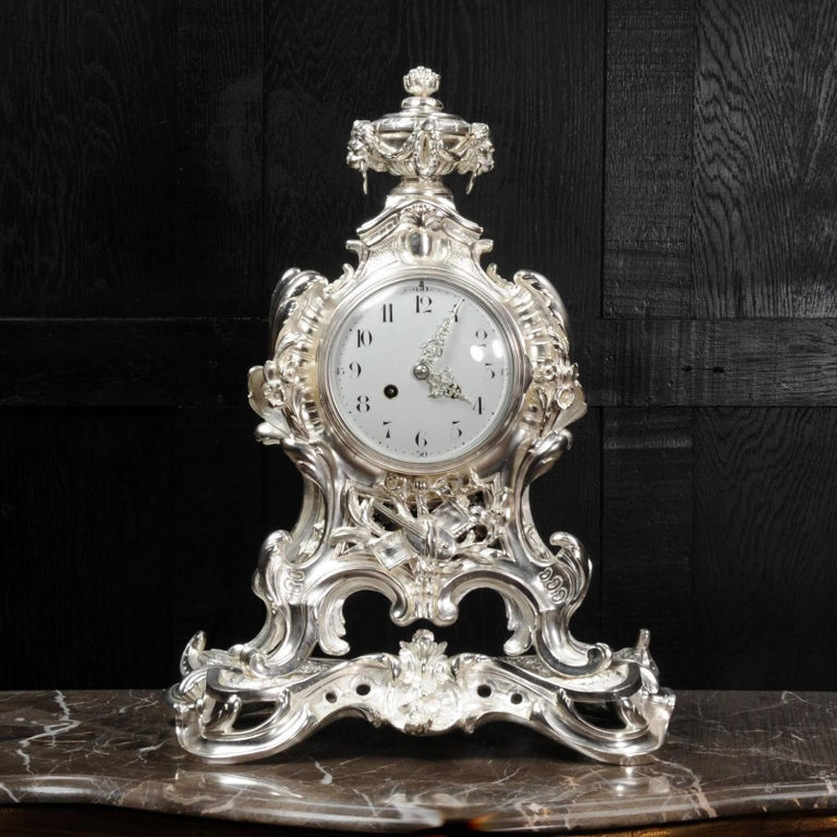 Silvered Antique French Silver Rococo Clock ~ Music For Sale