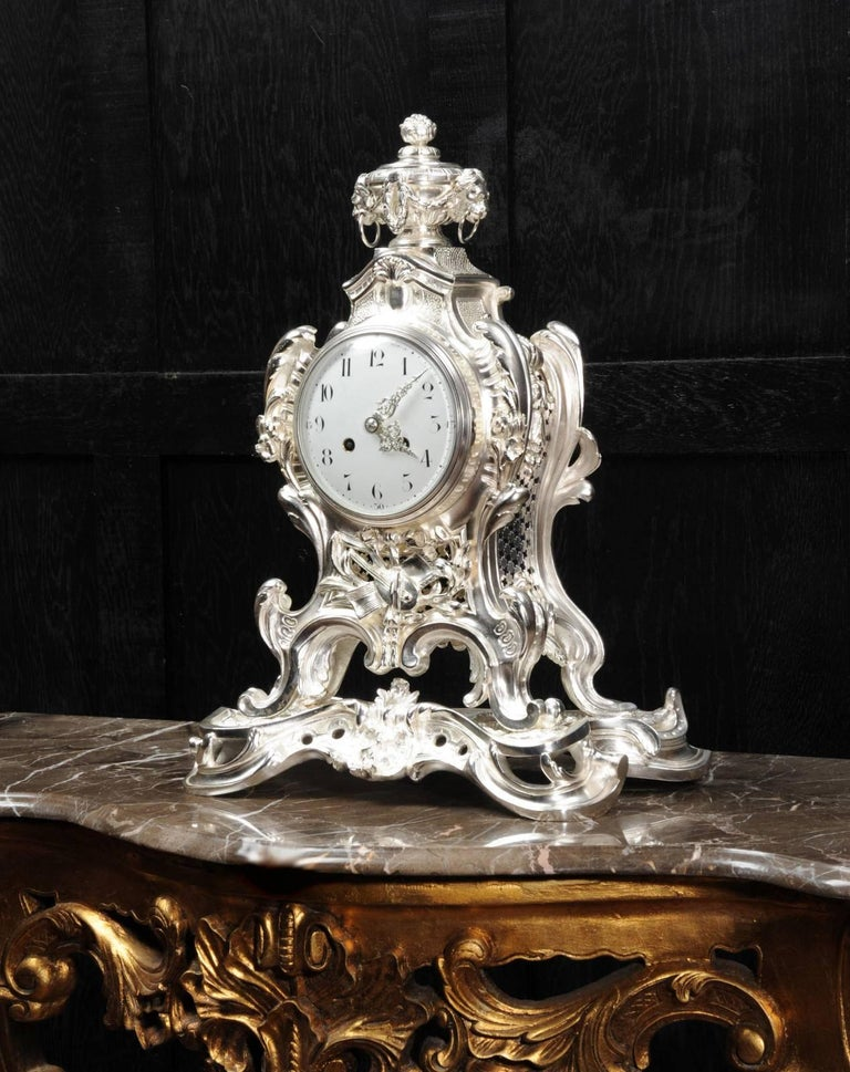 Bronze Antique French Silver Rococo Clock ~ Music For Sale