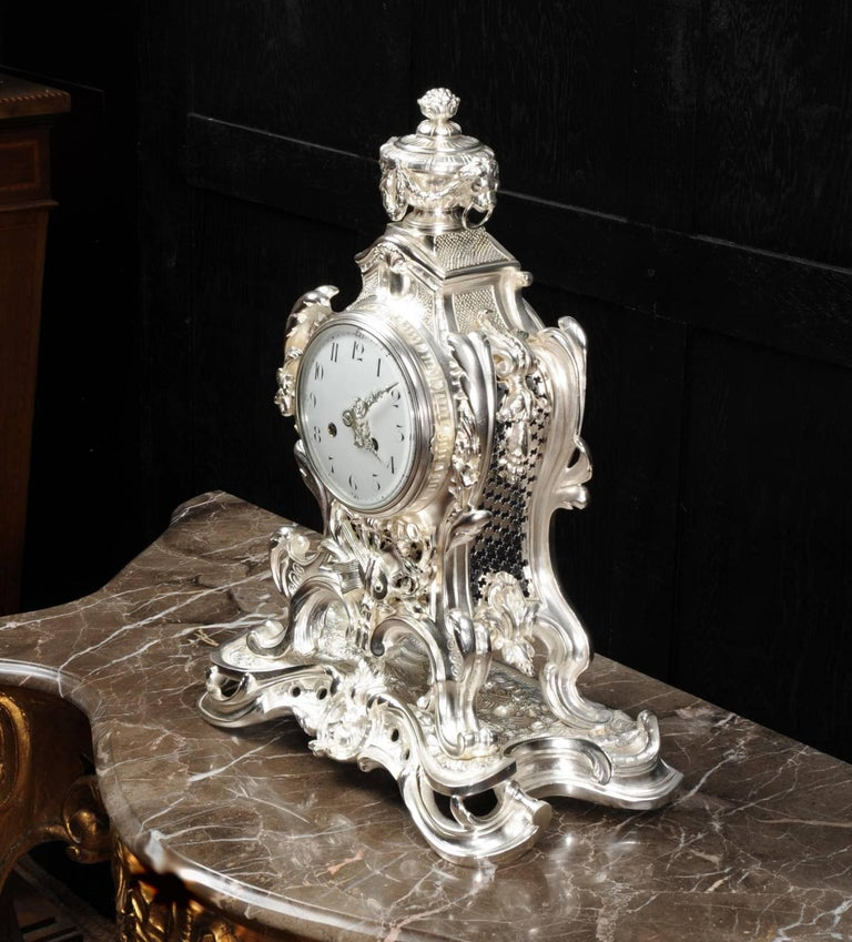 Antique French Silver Rococo Clock ~ Music For Sale 1