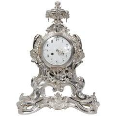 Antique French Silver Rococo Clock ~ Music