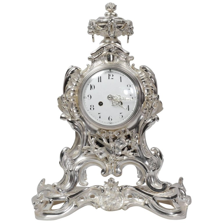 Antique French Silver Rococo Clock ~ Music For Sale