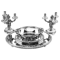 Antique French Silver Suite Candelabra Jardinière Bowl on Plateau, circa 1900
