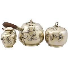 Antique French Silver Three Piece Tea Service, circa 1880