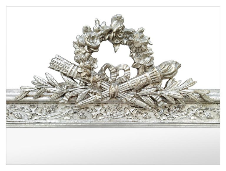 Gilt Antique French Silver Wall Mirror with Pediment, circa 1900 For Sale