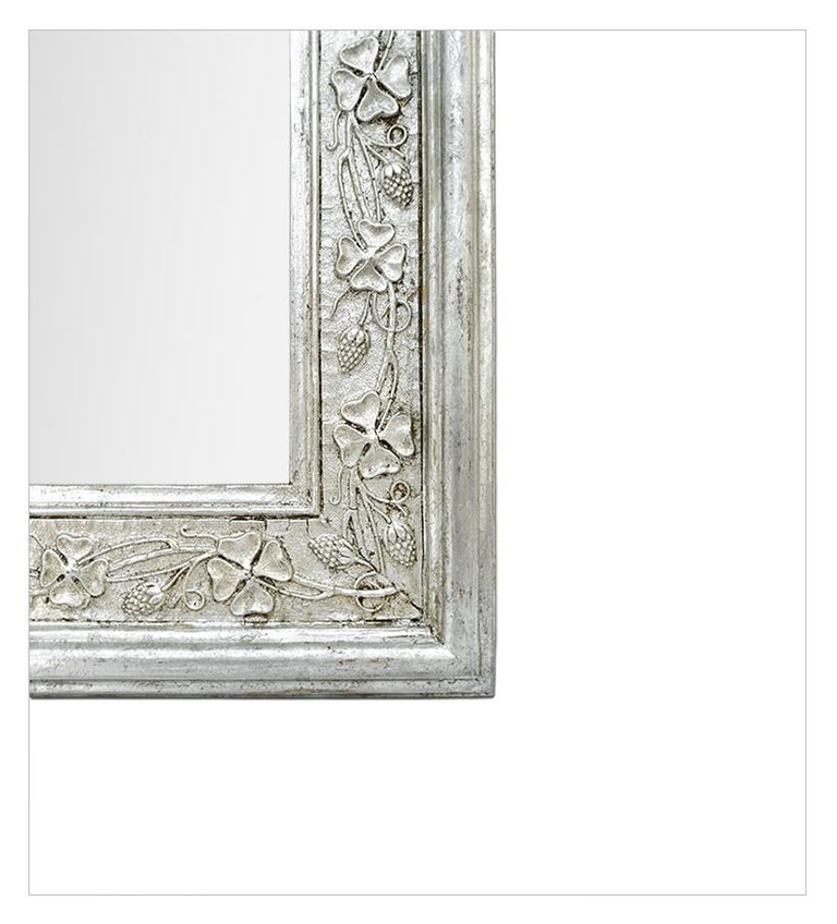 Late 19th Century Antique French Silver Wall Mirror with Pediment, circa 1900 For Sale