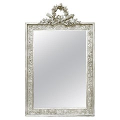 Antique French Silver Wall Mirror with Pediment, circa 1900
