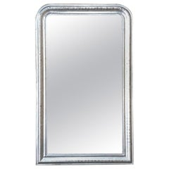 Antique French Silvered Mirror, 19th Century Louis Philippe Period