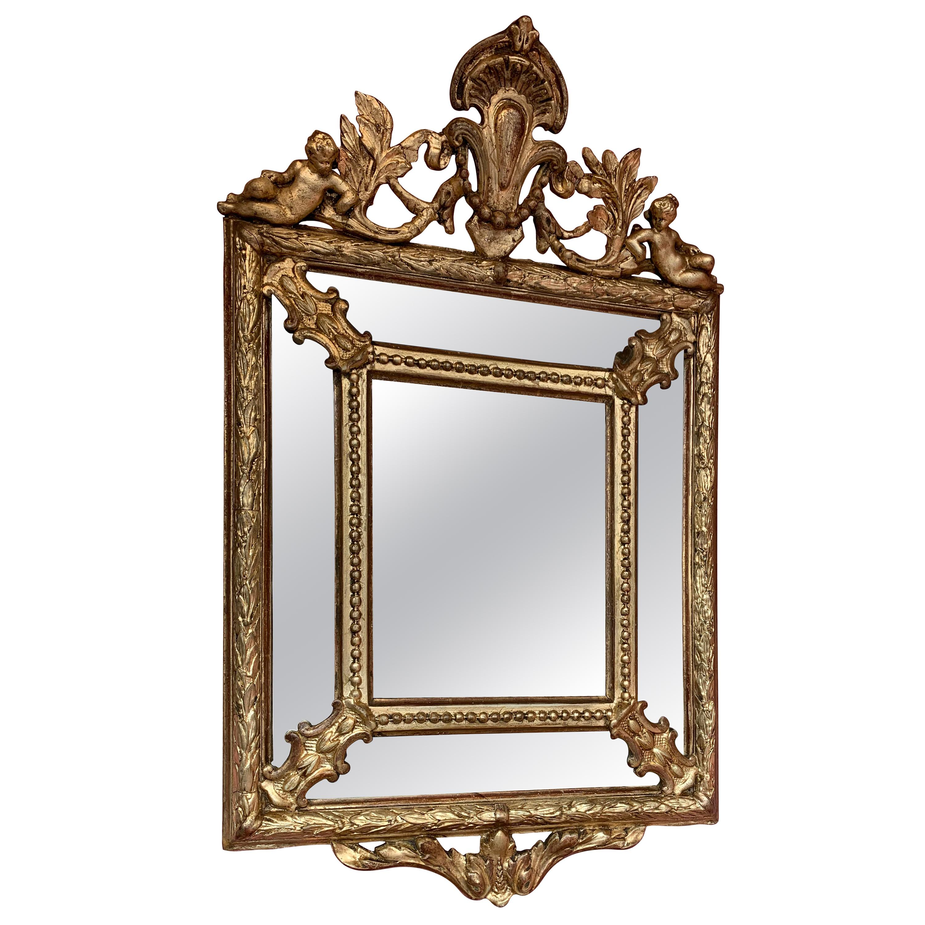 Antique French Small Giltwood Mirror with Cherubs