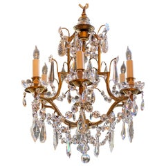 Antique French Small Size Gold Bronze and Crystal Chandelier, circa 1890