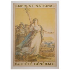 "Antique French ""Societe General"" Poster, circa 1920"