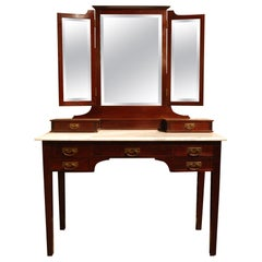 Antique French Solid Mahogany Dressing Table or Vanity with Folding Mirrors