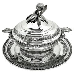 Antique French Solid Silver Soup Tureen on Stand circa 1890 Platter