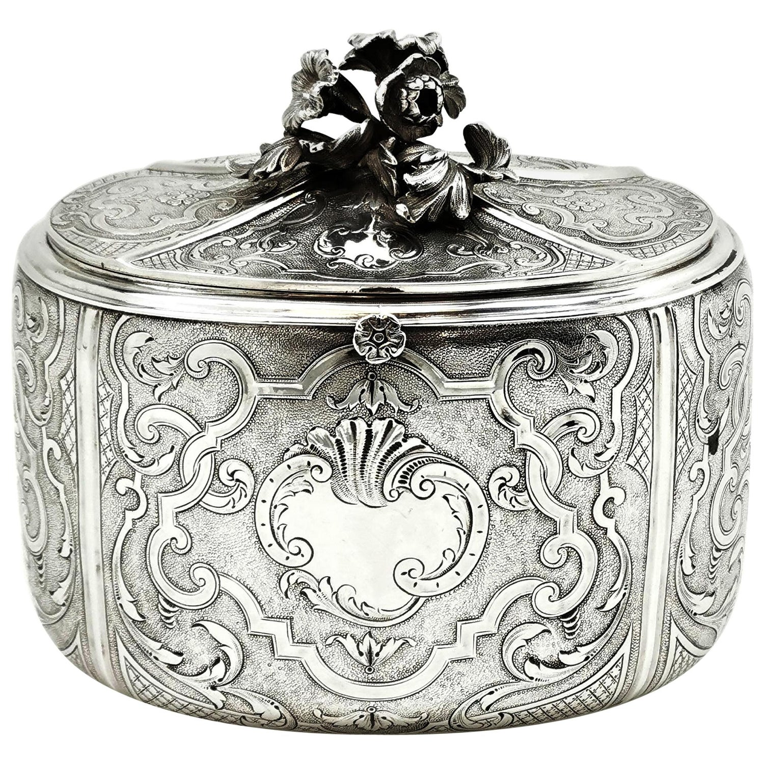 Antique French Solid Silver Tea Caddy by Odiot, Paris, circa 1880