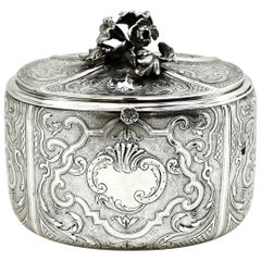 Antique French Solid Silver Tea Caddy by Odiot Paris, France circa 1880