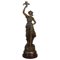 Antique French Spelter Statue of Maiden by Rullony