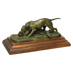 Antique French Sporting Dog & Fox Bronze Sculpture, Circa 1890