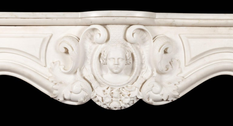 Louis XV Antique French Statuary Carrara Marble Mantel For Sale