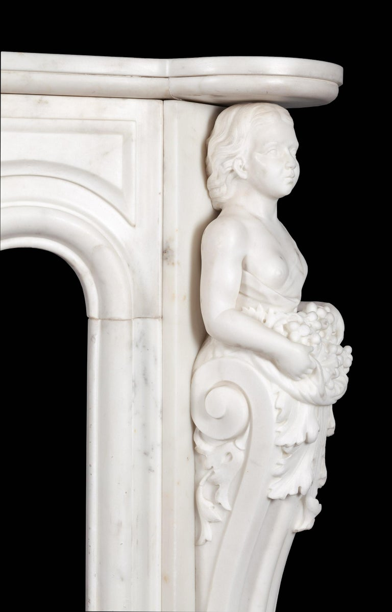 Carved Antique French Statuary Carrara Marble Mantel For Sale