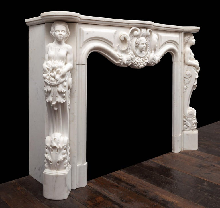 19th Century Antique French Statuary Carrara Marble Mantel For Sale