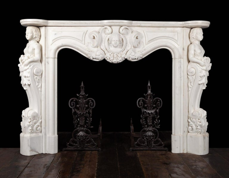 Antique French Statuary Carrara Marble Mantel For Sale 1
