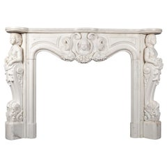 Antique French Statuary Carrara Marble Mantel