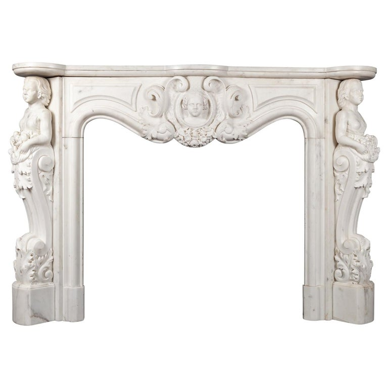 Antique French Statuary Carrara Marble Mantel For Sale