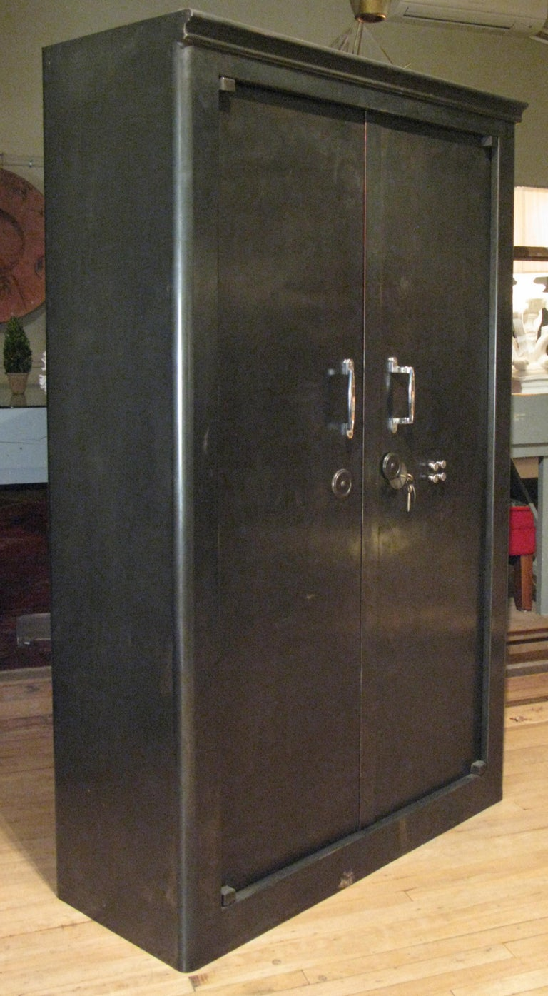 Mid-20th Century Antique French Steel Safe Cabinet For Sale