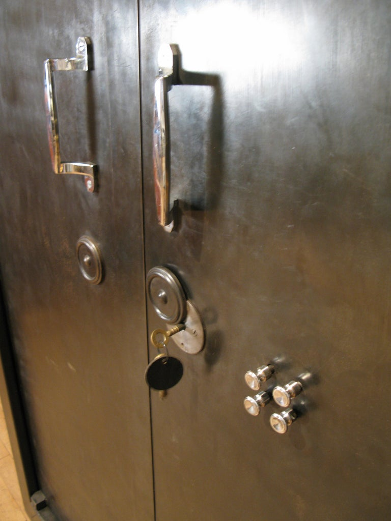 Antique French Steel Safe Cabinet For Sale 3