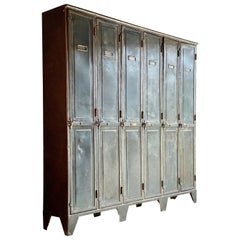 Antique French Steel School Lockers Laugel & Renouard St Die Vosges, circa 1890