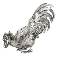 Antique French Sterling Silver Fighting Cockerel, 19th Century