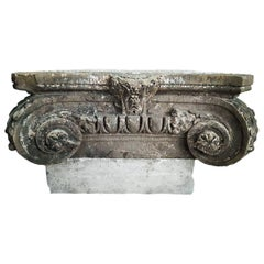 Antique French Stone Column Capital, Ionian Style, Mid-19th Century