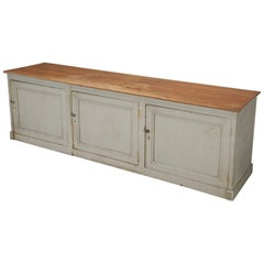 Antique French Store Counter or Kitchen Island in Original Paint, Unrestored