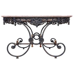 Antique French Style Bistro Patio Wrought Iron and Pink Stone Table
