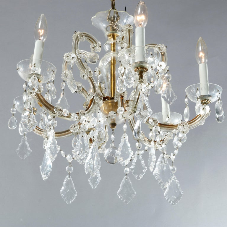 American Antique French Style Brass & Cut Crystal Six Light Chandelier, Circa 1930 For Sale