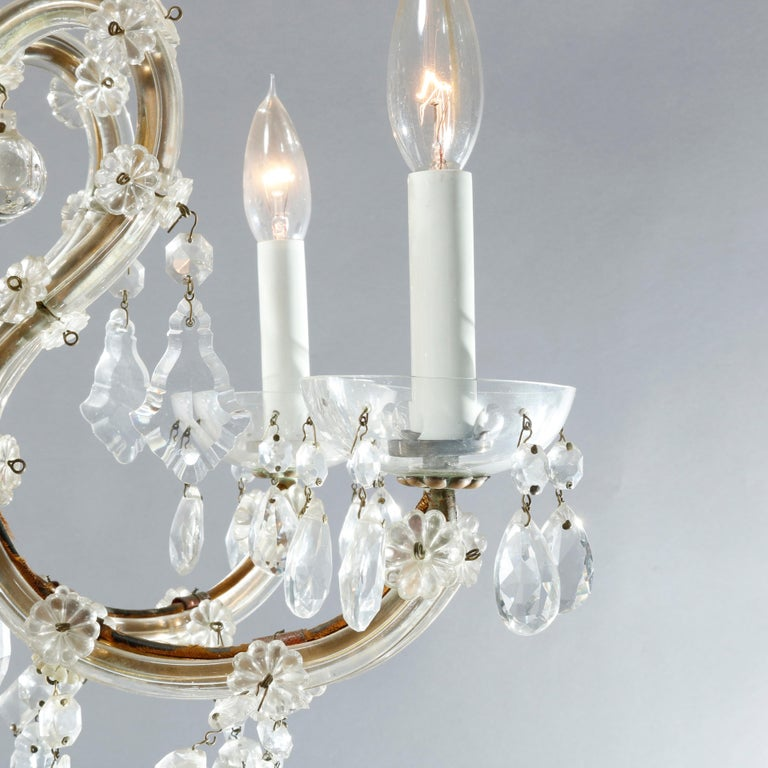 Cast Antique French Style Brass & Cut Crystal Six Light Chandelier, Circa 1930 For Sale