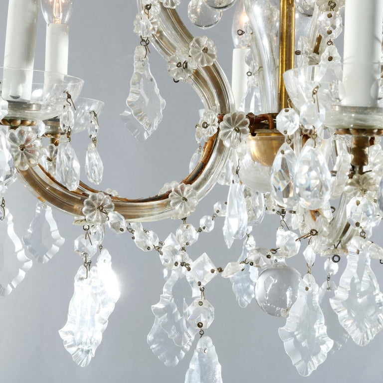 Antique French Style Brass & Cut Crystal Six Light Chandelier, Circa 1930 In Good Condition For Sale In Big Flats, NY