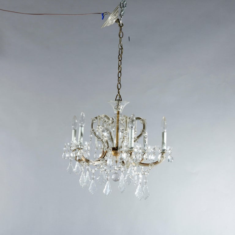Antique French Style Brass & Cut Crystal Six Light Chandelier, Circa 1930 For Sale 2