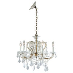 Antique French Style Brass & Cut Crystal Six Light Chandelier, Circa 1930