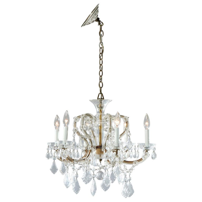 Antique French Style Brass & Cut Crystal Six Light Chandelier, Circa 1930 For Sale