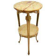 Antique French Style Brass & Onyx Side Table