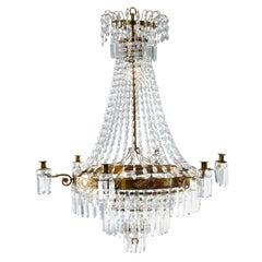 Antique French Style Crystal & Bronzed Wedding Cake Tiered Chandelier, 20th C