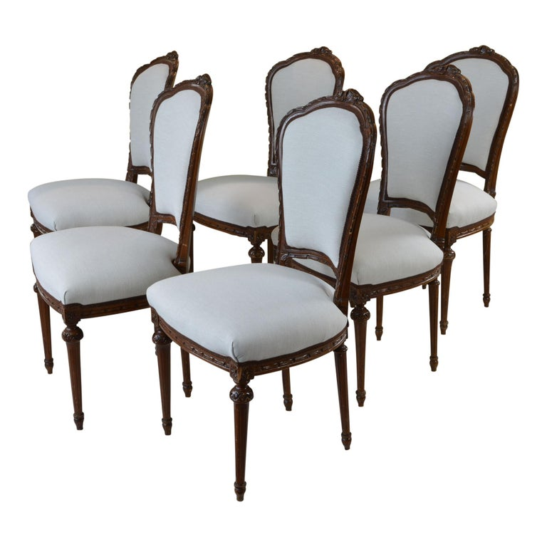 Antique French Style Dining Chair Taupe Set of Six For ...