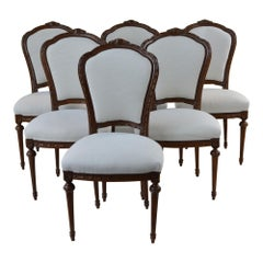 Antique French Style Dining Chair Taupe Set of Six