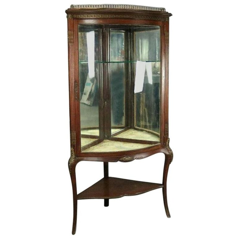 Antique French Style Horner Bros Mahogany and Bronze Bowed Corner Cabinet