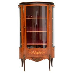 Antique French Style Inlaid Marquetry Display Cabinet