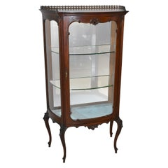 Antique French Style Mahogany Curio Cabinet Brass Gallery